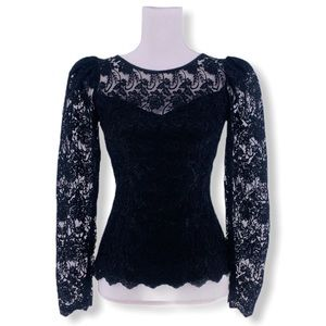 Vintage Women's Black Lace Puff Sleeve Top s